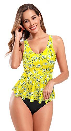 SHEKINI Traje de Baño Acolchado con Cuello En V y Estampado Tankinis para Mujer Traje de Baño de Una Pieza Traje de Baño con Dobladillo con Volantes(Amarillo,L)