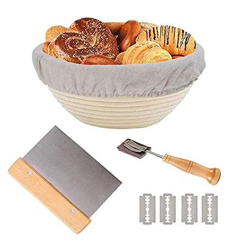 9 Inch Bread Banneton Proofing Basket-Professional Baking Tool Baking Bowl Dough, Bread Slashing Scraper Tool + Dough Scraper + Cloth Liner, Home Bakers & Baking Gifts Beige