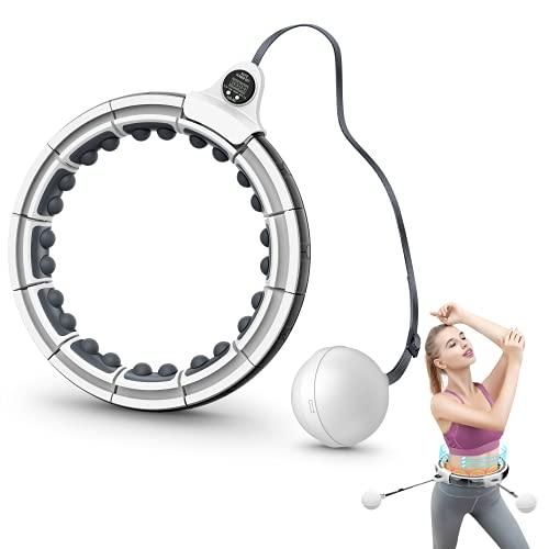 Posinko Smart Hula Hoop, Hula Hoop Reifen Gewichtsverlust mit Massagenoppen Intelligente Zählen Einstellbare GrößE Gewichtet Upgraded Hullahub Reifen für Kinder Erwachsene