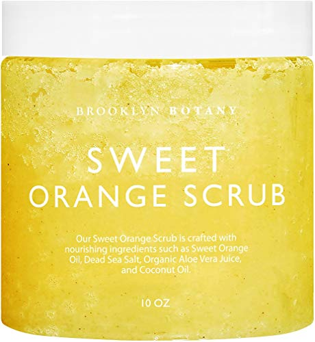 Brooklyn Botany 100% Natural Sweet Orange Body Scrub & Hand Scrub - Dual Action Exfoliator, Moisturizer For Great Skin- Made With Natural Orange Oil - Exfoliating Body Scrubs & Hand Scrubs - 10 oz