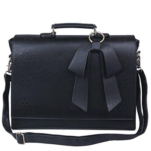 ECOSUSI Vintage Damen Schultasche Arbeitstasche Aktentasche Laptoptasche 14