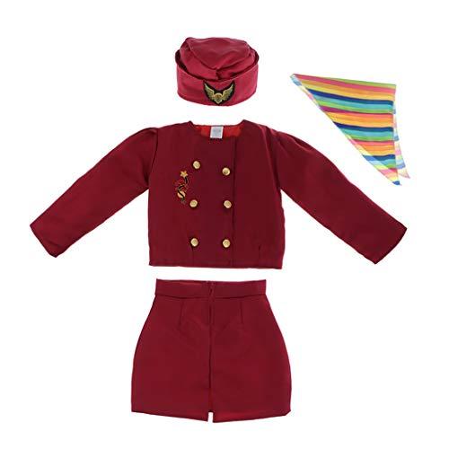 sharprepublic Conjunto con Disfraz Azafata Diseo Elegante Traje Nias de Cosplay de Auxiliar de Vuelo