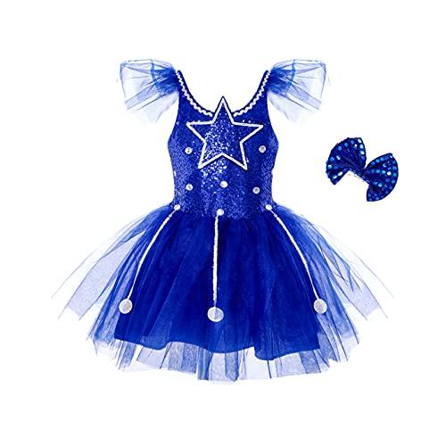 iiniim Vestido Lentejuelas Princesa Flores Niña Chica Traje de Baile Jazz Patinaje Artistico Falda de Danza Ballet Tutú Conjunto Brillante con Muñequeras Fiesta Disfraz Navidad Azul A 7-8 años