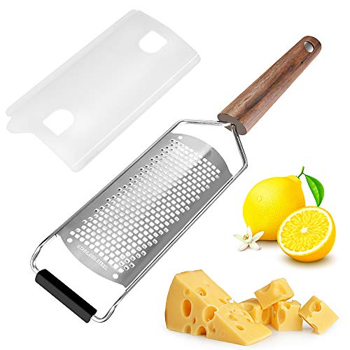lemon zester tool, Cheese Grater,LWTER Black Walnut Handle &Stainless Steel Knife, Hard and Durable Slicer for Quick Slicing of Nutmeg and Cheese Garlic Fruits Chocolate