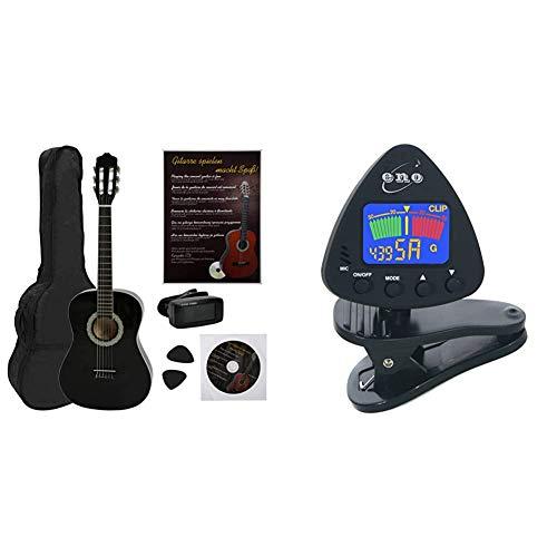 Navarra NV12PKGuitarra Clásica para Aprender, Sintonizador con Clip Pantalla LCD + Eno Clip para afinador de guitarra y ukelele, Sintonizador de bajos y violín