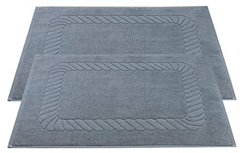 ZOLLNER 2er-Set Badematten, 100% Baumwolle, ca. 50x70 cm, 740g/qm, grau