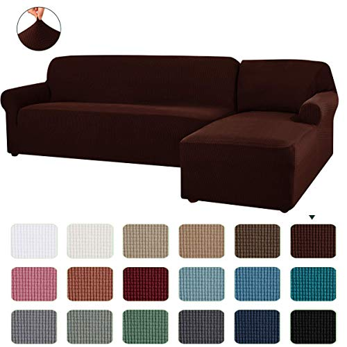 CHUN YI Stretch Sectional Couch Covers Soft L-Shaped Sofa Slipcovers with Elastic Bootm , Jacquard Chaise Lounge Set for Living Room 2 Seat Protector (Right Chaise,Chocolate)