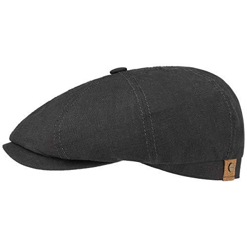 Stetson Hatteras Flatcap de Lino para Mujer/Hombre - con Forro de algodón - Gorra Plana con protección Solar UV 40+- Boina Plana para Primavera/Verano Negro 58 cm