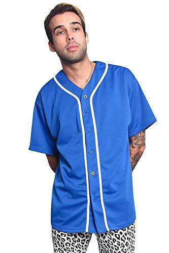 Men's Classic Baseball Jersey Shirt Button Down BJ42 - Royal Blue - 4X-Large - KK6B