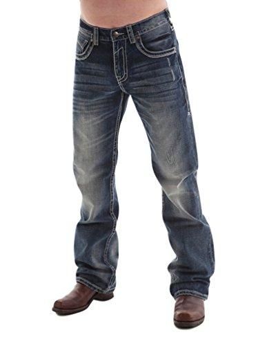 B. Tuff Western Denim Jeans Mens Torque Rlx 32 Long Med Wash MTRQUE