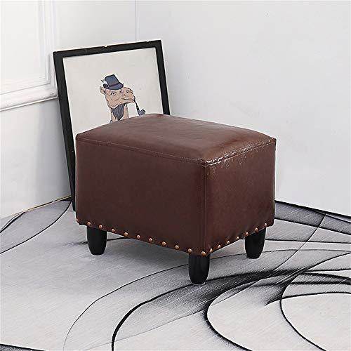 Taburete Otomano Moderno, Taburete de sofá de cuero sintético rojo rectangular para sala de estar, banco de puf tapizado para cama para niños, fácil de limpiar, capacidad máxima de peso 200 kg (440