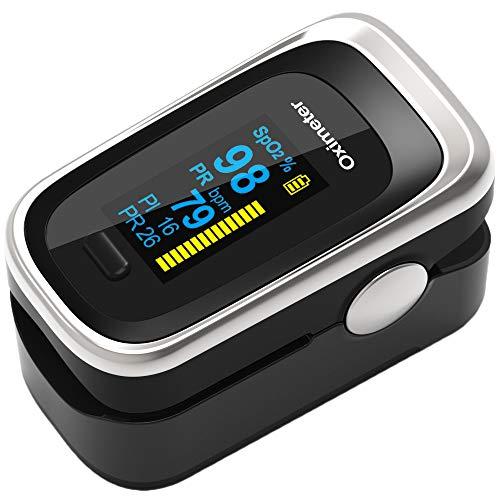 COOLEAD Pulsioxímetro de Dedo, Oxímetro de Pluso Digital Portátil con Pantalla OLED 4 Parámetros en Hogar (Negro)