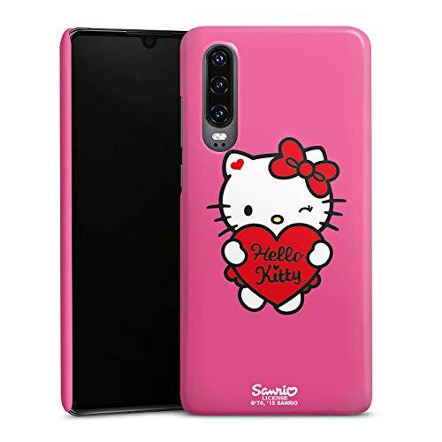 DeinDesign Premium Hülle kompatibel mit Huawei P30 Smartphone Handyhülle Hülle glänzend Hello Kitty Fanartikel Herz