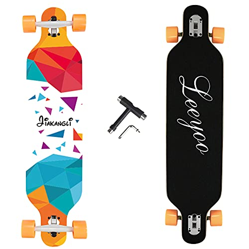 Longboard Skateboard, 41 Inch 8 Layer Natural Maple Drop Through Longboards for Kids Boys Girls Youths Beginners