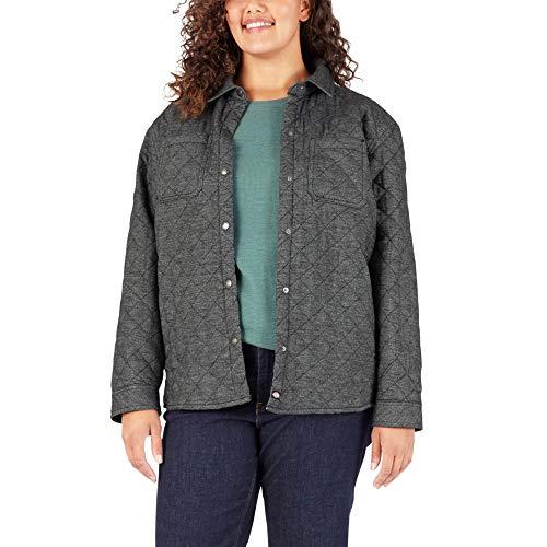 Dickies Plus Size Quilted Flannel Shirt Jacket Delantal Abotonado de utilidades de Trabajo, Espiga de Dos Tonos Gris, X-Large Más para Mujer