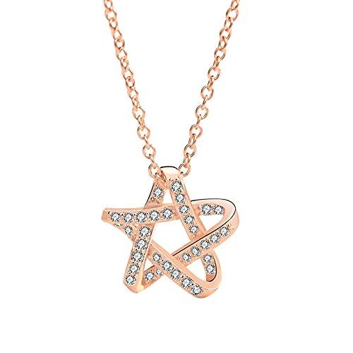 Collares de joyería para niñas con circonita cúbica trenzada y estrella de oro rosa