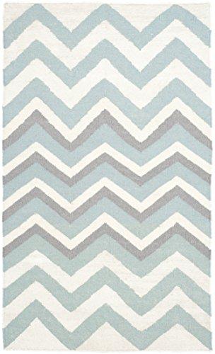 Safavieh Dhurrie Teppich, DHU646, Flachgewebter Wolle und Viskose, Blau / Weiß, 90 x 150 cm