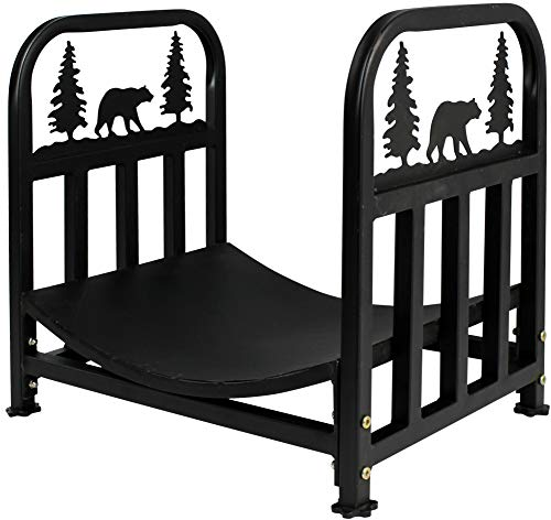 INNO STAGE Wrought Iron Log Rack, Firewood Storage Holder, Heavy Duty Fireside Log Bin for Fireplace Stove Accessories