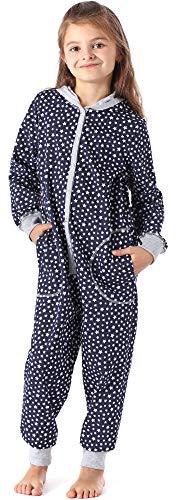 Merry Style Mädchen Schlafstrampler Strampelanzug mit Kapuze MS10-223 (Marine Sterne, 146-152)