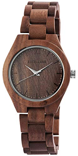 EXCELLANC Damenuhr Braun Holz Analog Quarz Holzuhr Armbanduhr