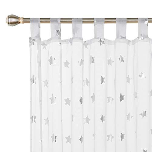 Deconovo Vorhang mit Schlaufen Transparent Gardinen Voile Gardinen Kinderzimmer 175x140 cm Weiß Großes Stern 2er Set