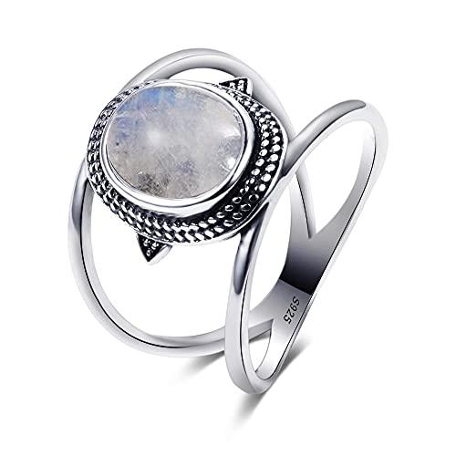 DJMJHG Anillos de Piedra Lunar Naturales ovalados de Lujo más nuevos para Hombres y Mujeres, joyería de Plata sólida 925, Anillos de Piedras Preciosas, Regalo de Fiesta