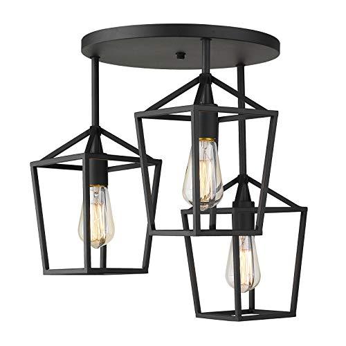 Emliviar 3-Light Ceiling Light, Semi-Flush Mount Light Fixture with Metal Cage in Black Finish, 20065D2-3 BK