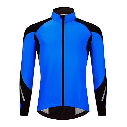 TZTED Veste à Manches Longues Hiver, Coupe-Vent Imperméable Vélo Vêtements Manches Longues VTT Manteau,Bleu,XL