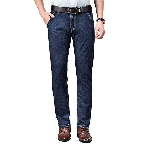Jeans Slim Elasticizzati da Uomo Fashion all-Match Trend Comodi Pantaloni Dritti Classici Regular Fit in Denim Lavato Casual 30