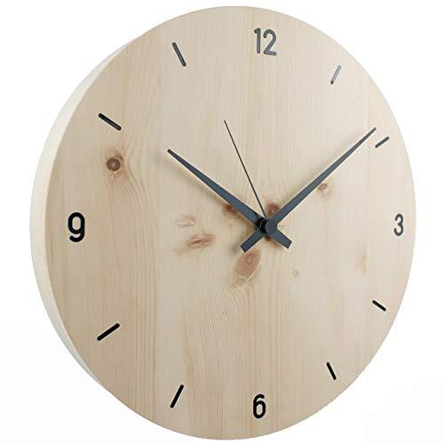 Wanduhr | Holzuhr | Holz | Zirbe Natur Vollmassiv | ⌀ 30cm rund | sehr leises Quarz Uhrwerk von Junghans | modern | Qualitätsprodukt | handgemacht in Österreich | exklusiv