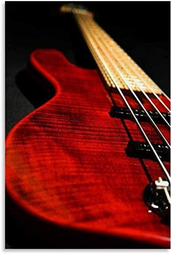 Red Bass Guitar Canvas Painting Art Picture f Oil Print Wall Free Max 57% OFF shipping on posting reviews