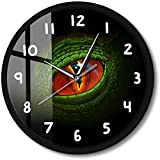 CXSMKP Orologio da Parete a Emissione di Luce attivato dal Suono Verde Dino Dragon Eye Lampada da Notte Dinosaur Eyeball Fantasy Gothic Style Silent Watch 12 in