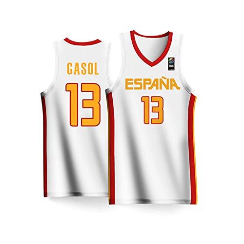 Haoshangzh55 Azul de la Copa Mundial de Baloncesto España Equipo Nº 13 Traje de Baloncesto 2019 Hombres de Marc Gasol Jersey Gran de Hijos Adultos,XXL