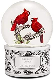 Things Remembered Personalized Cardinal Couple Snow Globe with Engraving Included