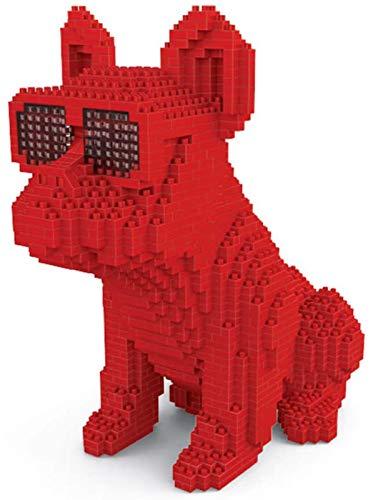 QSSQ Small Mini Blocks Diamond Building Block for Children, Pet 3D Model, Cool Bulldog Dog Eyeglasses,Red