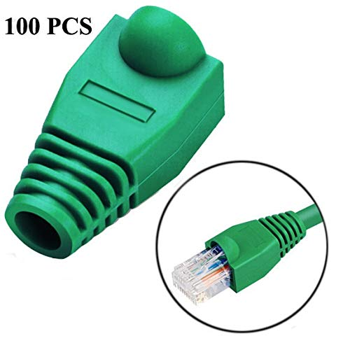 Accesorios de Red LAN por Cable y Herramientas Cable de Red Boot Cover Cap for RJ45, Negro (100 PCS en un Paquete, el Precio es de 100 Unidades) (Color : Green)