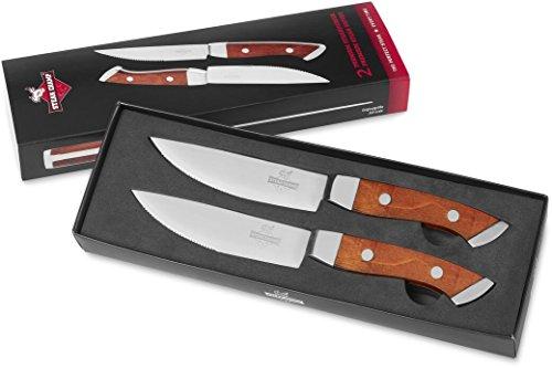 Steak Champ SteakChamp Messer mit Holzgriff, 2er Set, Holz, Silver, 28.5 x 8.8 x 2.5 cm