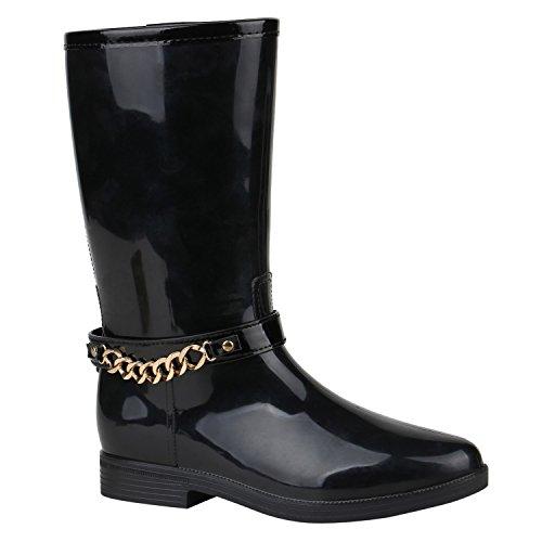 Damen Stiefel Gummistiefel Lack Ketten Boots Blockabsatz Schuhe 150569 Schwarz Gold 36 Flandell