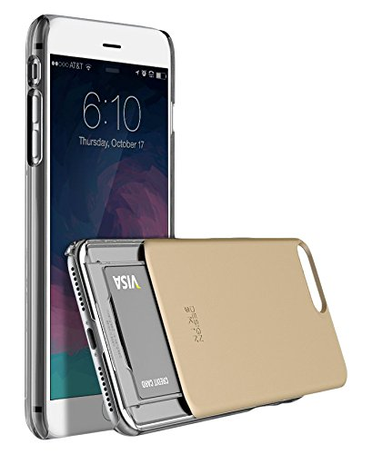 DesignSkin Slider Slim S2 Dual PC Layer Wallet Case with Card Slot for iPhone 7 Plus - Gold