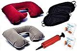 IVALLEY 2 pièces COUSSIN DE VOYAGE GONFLABLE U-SHAPE complet avec 2 pièces masque 3D pour les yeux dormant, 2 jeux de bouchons d'oreille et 1 unité de pompe à main portable (gris + bleu foncé)