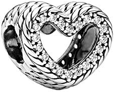 PANDORA Snake Chain Pattern Open Heart Clear CZ 925 Sterling Silver Charm 799100C01 product image