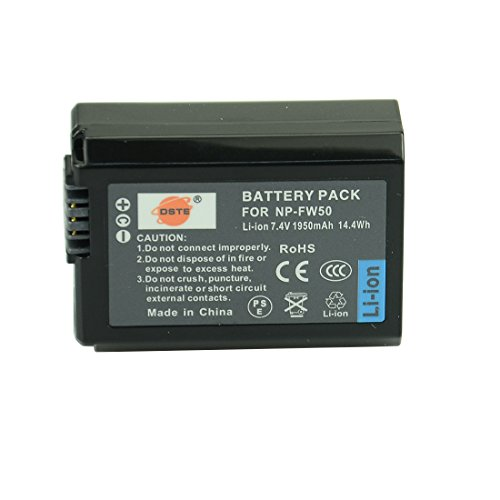 DSTE Replacement for NP-FW50 Li-ion Battery Compatible Sony Alpha 7 7R 7R II 7S a7R a7S a7R II a5000 a6000 a6100 a6400 a6500 NEX-7 SLT-A37 DSC-RX10 RX10 II III 7SM2 ILCE-7R 7S QX1 6000