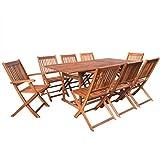 vidaXL Bois Acacia Massif Mobilier Jardin 9 pcs Terrasse Patio Salon de Jardin