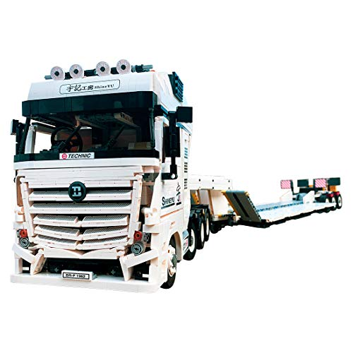 HYZM Technik LKW mit Anhänger Modell Bausteine, 4478 Klemmbausteine 2.4G Ferngesteuert Lastwagen mit Motoren Bausatz Konstruktionsspielzeug, Kompatibel mit Lego Technic