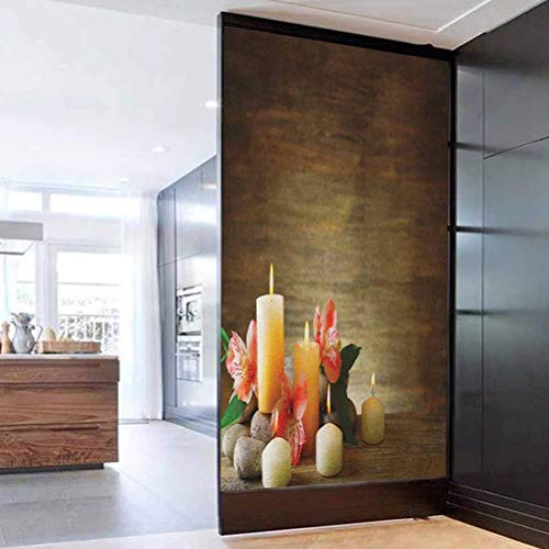 3D Door Wall Murals Wallpaper Door Stickers Spa Spa Composition with Many Candles We Removable Door Wall Mural Door Wallpaper for Home Decorative 35.4 x 78.7 in