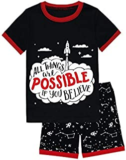 Image of Black Short Sleeve Believe Space Rocket Shorty Pajamas for Boys and Toddlers