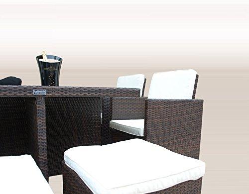 Ragnarök-Möbeldesign PolyRattan - DEUTSCHE Marke - EIGNENE Produktion - 8 Jahre GARANTIE auf UV-Beständigkeit Gartenmöbel Essgruppe Tisch + 4 Stühle & 4 Hocker 12 Polster Braun - 3