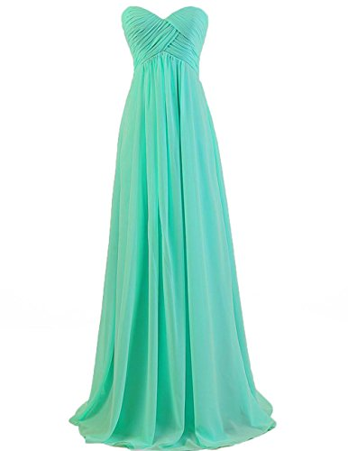 Bridesmaid Dresses Long Prom Dress Evening Party Gowns Plus Size Chiffon Sweetheart Maxi for Women Turquoise US 28W (Apparel)