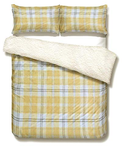 Olivia Rocco Printed Teddy Fleece Duvet Cover Set Soft Warm Quilt Set With Cosy Toes Thermal Bedding, Check Ochre Double
