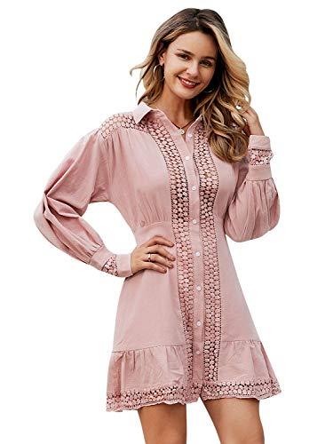 BerryGo Women's Long Sleeve Lace Ruffle Dress V Neck Cotton Aline Dress